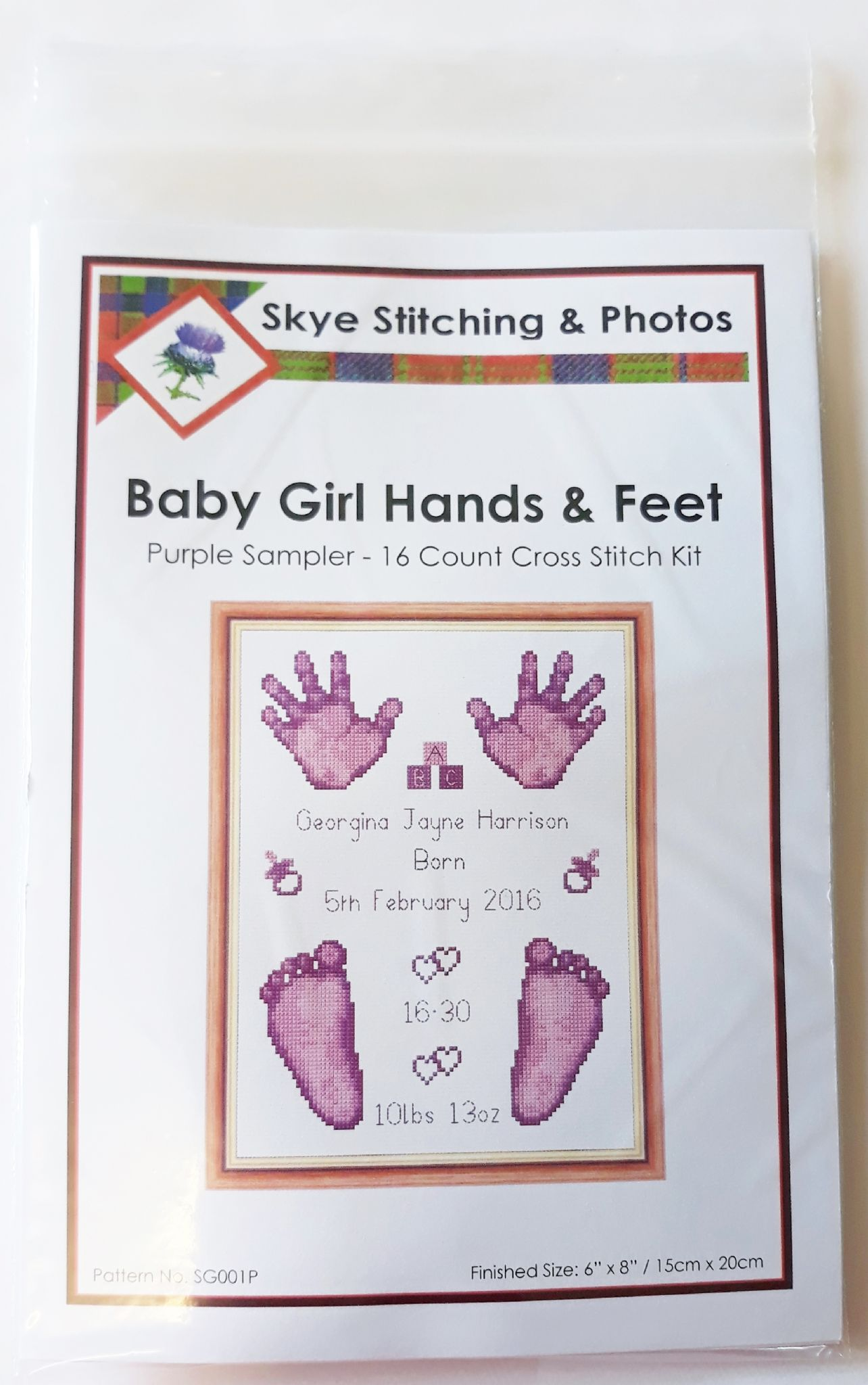 Hands & Feet - Baby Girl Purple Birth Sampler/Announcement - 16 Count Cross  Stitch